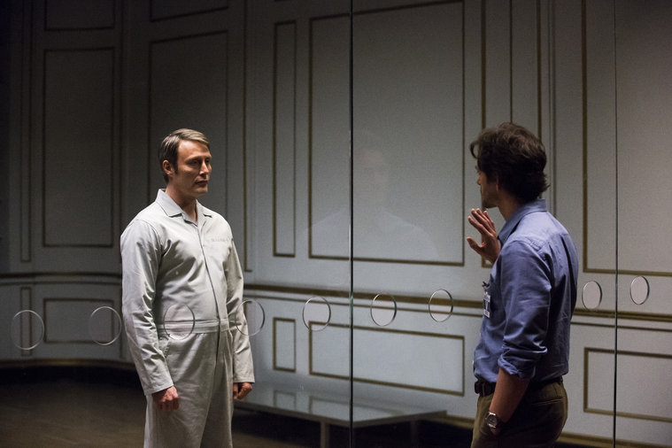 """HANNIBAL -- """"The Wrath of the Lamb"""" Episode 313 -- Pictured: (l-r) Mads Mikkelsen as Hannibal Lecter, Hugh Dancy as Will Graham -- (Photo by: Brooke Palmer/NBC)"""